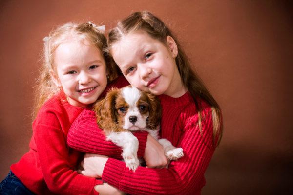 фотография девочек с щенком
